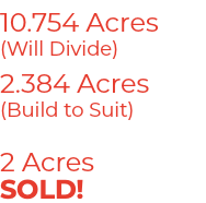 10.754 Acres (Will Divide) 2.384 Acres (Build to Suit) 2 Acres SOLD!
